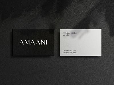 AMAANI Business Cards card effendy classy luxurious stationary monochrome business card mockup identity logotype wordmark brand identity thobes menswear serif logo classic minimal luxury typography amaani business card