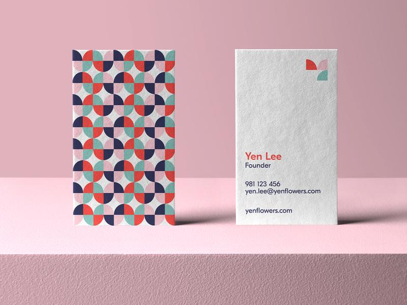 Yen Flowers Business Card y logo business card mockup vivid colorful logo symbol tulip logo flower logo print stationery logo geometric effendy branding abstract brand identity pattern design business card