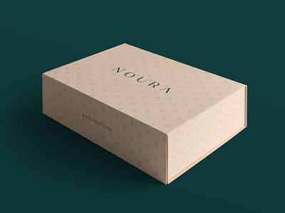NOURA - Luxury Box n logo abaya luxury box logo packaging design womenswear packaging hijab luxury branding branding serif box mockup logotype typography wordmark feminine noura luxury sophisticated effendy