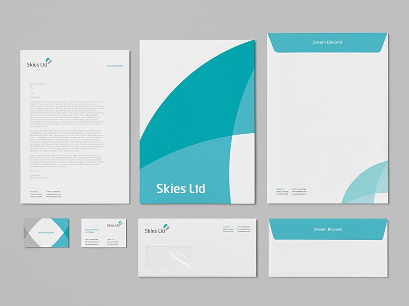 Skies ltd corporate stationery dribbble