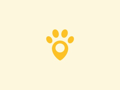Paw + Pin  branding mark pets paw logo pin idea dog concept location pin