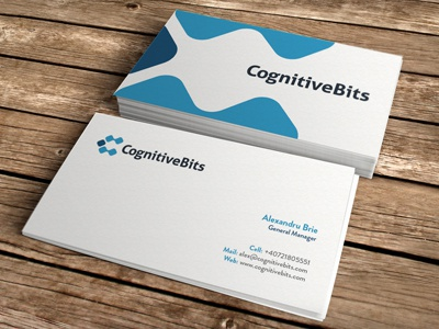 Cognitive Bits Business Cards visiting card business cards card branding iconic ipad iphone minimal blue professional corporate cognition c identity logos ali effendy logo icon bits cognitive romania company software development app moo