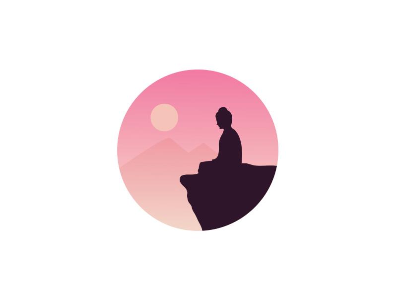 Buddha Silhouette  gradient silhouette blog peace sunset mountains illustration. meditation buddha