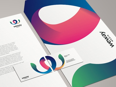 Weway Media - Corporate Stationery vibrant colorful effendy ali logo thomas letterhead doublesided branding envelope c6 envelope visiting card business card corporate identity stationary media brazil brasil weway stationery