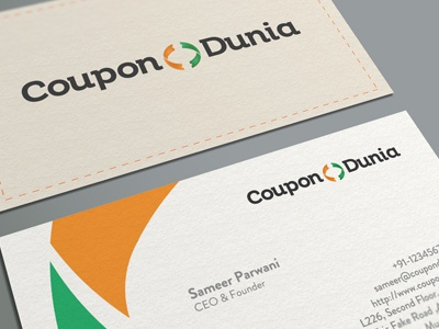CouponDunia Business Card business card visiting card card coupon dunia branding ali effendy logo corporate identity world coupon dunia coupon world india indian mockup global popular start-up discount codes stitch