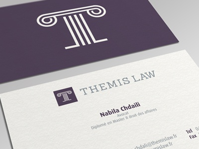 Themis Law Business Card stationery stationary business card visiting card corporate identity simple sophisticated logo litigation justice business legal symbol mark law bureau advocate firm lawyer france greek effendy ali law themis