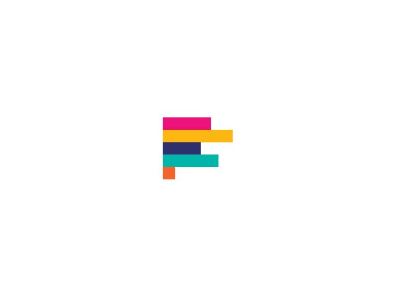 F + Analytics analytics logo funding color bars colour finance fundraising progress vibrant abstract vector lettermark identity colorful startup symbol effendy design mark branding
