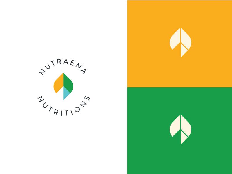 Nutreana Nutritions webshop brand identity nature logo abstract typography organic nature fresh minimal crest badge nutrea leaf nutrition nature symbol branding effendy logo