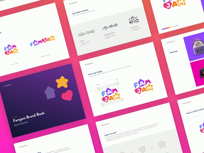 FAMJAM - Brand Guidelines task ios app school app style guide kids logo logotype collaterals logodesign stationary design learning app abstract shapes brand guidelines brand book kids logo animation branding colorful effendy