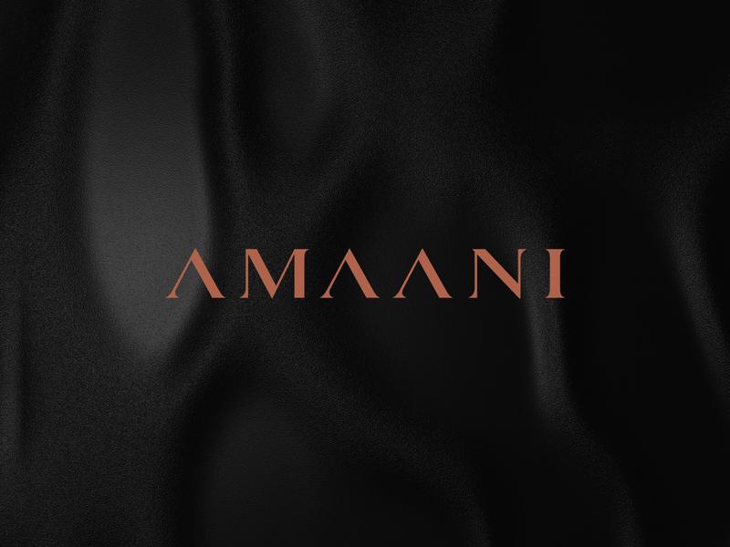 AMAANI - 1st Proposal logotype fashion accessories peace copper foil amaani typography wordmark box mockup bag mockup minimal elegant arabic menswear identity branding brand identity luxury effendy thobes