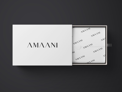 AMAANI logo minimal identity harmony mens fashion arabic box mockup brand identity branding luxury branding peace effendy serif logo wordmark logotype typography luxury logo menswear luxury amaani