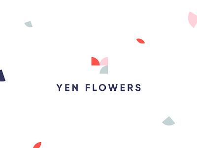 Yen Flowers floral floral design modern flourish pattern logo geometric pattern symbol typography mark illustration colorful branding brand identity flower shop tulip yen y logo effendy geometric logo flower logo