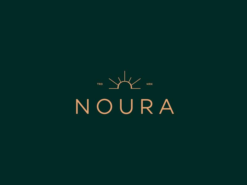 NOURA - 3rd Proposal logotype sunrise brand identity wordmark hijab feminine burkinis light noor womenswear typography luxury logo fashion logo branding elegant effendy box mockup noura luxury mark