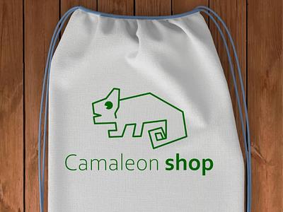 Camaleon shop inkscape. bag store shop design logo