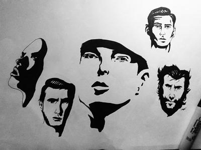 Face b/w portrait. portrait face shadow illustrations