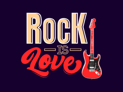 Rock is love guitar love rock text tipography