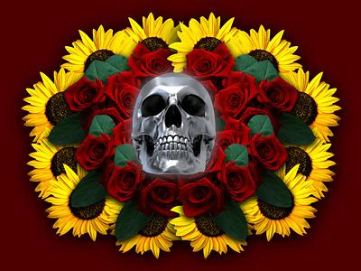 Bones and roses pattern simetria photo creative affinitydesigner photoshop design
