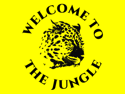 Logo welcome to the jungle vector tipography text draw design branding logo