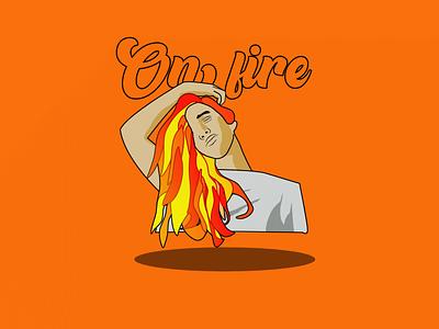 On fire graphic design creativo creative vector tipography draw illustration design