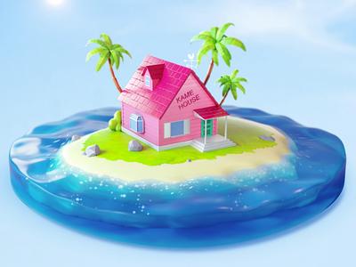 Dragon ball z Kame House lowpoly vacation vray digital art dragon ball anime isometric illustration 3dsmax