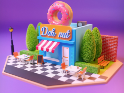 Doh nut food donuts shop colorful blender photoshop 3ds max concept isometric 3d