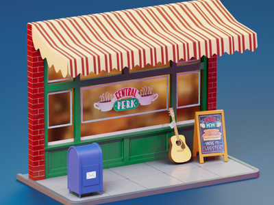 Central Perk isometric Art illustration minium coffee cafe isometric