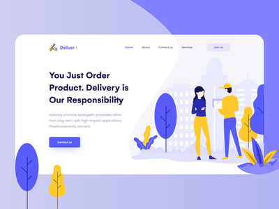 Delivery Landing Page Header clean ui ux design ui design modern landing page web design website ui design website ui agency website agency landing page landing page design landing page