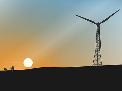 Sunset illustration vector
