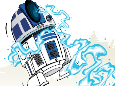Lost in the Wrong Part of Town star wars r2d2 jawas illustration scifi vector cartoon comic