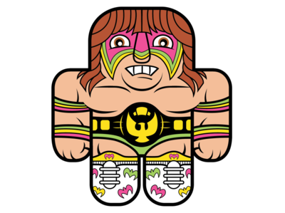 WWF Ultimate Warrior cute childrens book digital art character design vector illustration cute art vector art illustration sports art wrestling buddies wwf