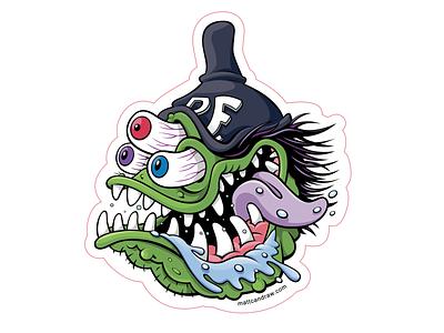 Rat Fink inspired sticker design nuttymads weirdohs monster art halloween digital art vector illustration vector art illustration stickers sticker ed big daddy roth ratfink