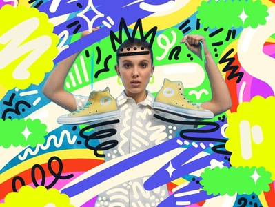 Millie Bobby Brown X Converse shoe illustration neon vector artist advertising campaign advertising pattern fashion bright bold colourful fashion illustration vector art illustration art illustrator illustration
