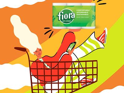 Fiora sustainable fiora branding illustration art fun female positive campaign design colour vector colourful illustrator illustration