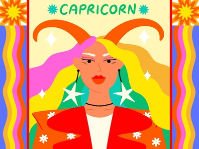 Capricorn female illustration art vectorart fashion colourfull colourful capricorn horoscope zodiac fashion illustration vector illustrator illustration