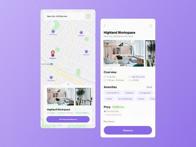 Workspace Finder App location application reservation app design uidesign ui workspace finder map workspace