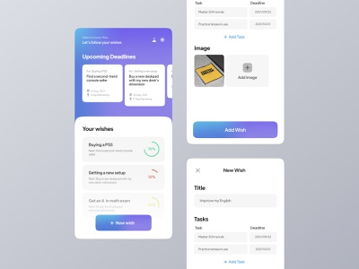 Wishlist App UI mesh mesh gradient deadline todo task goal wishlist app wishlish wish app design app uidesign ui