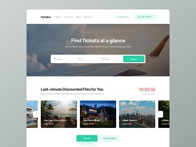 Flight Booking Website UI filter flat minimal hero carousel search ticket airplane flight booking website ui website webdesign web uidesign ui