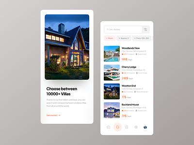 Villa Booking Application UI minimal search list onboarding apartment house villa booking application app design app uidesign ui