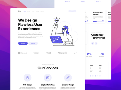 Echo Creative Agency flat minimal landing page creative agency agency services projects testimonials home page web design webdesign web uidesign ui