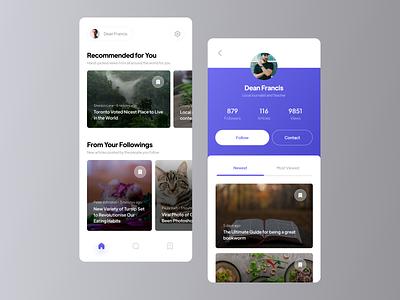Blog Application UI minimal gradient purple profile blog app news blog app design app uidesign ui