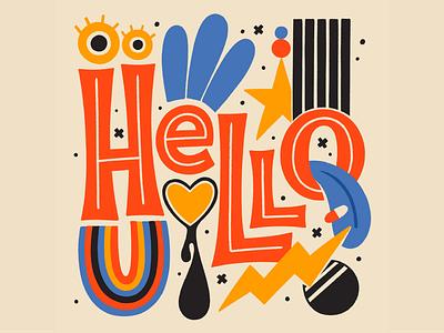 Hello pattern 70s eyes type hello lettering typography illustration
