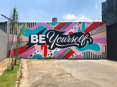 Be Yourself bright handpainted murals muralart muralist pattern colorful type typography lettering illustration