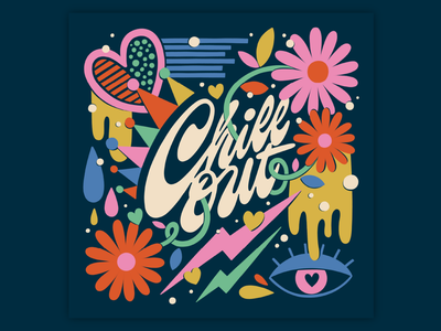 Chill Out funky fun muralist muralart bright bold type pattern colorful typography lettering illustration