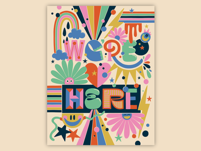 We're Here texture bright bold coloring coloringbook pattern colorful type typography lettering illustration