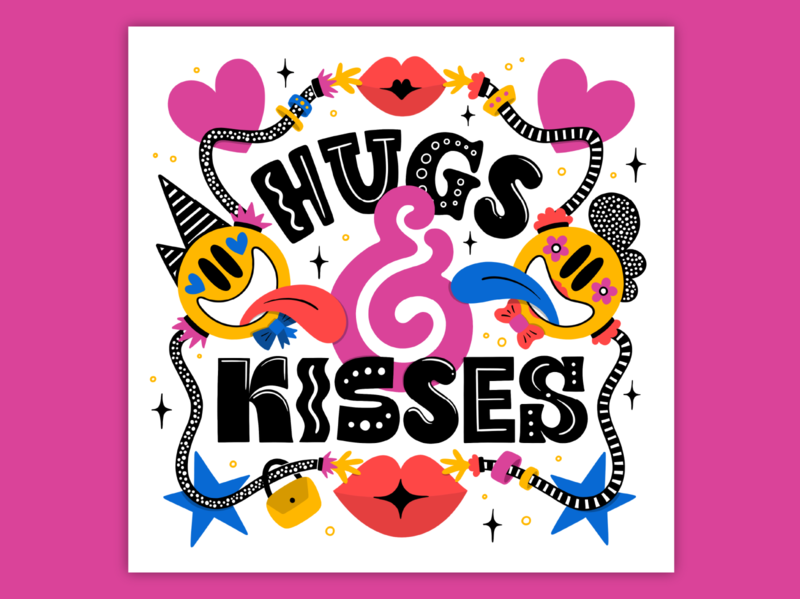 Hugs & Kisses popart ampersand smileys kisses hugs 80s muralart bold muralist pattern colorful type typography lettering illustration