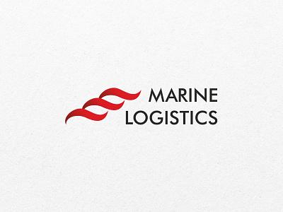 Logo marine logistics wave marine logistics sea branding logo