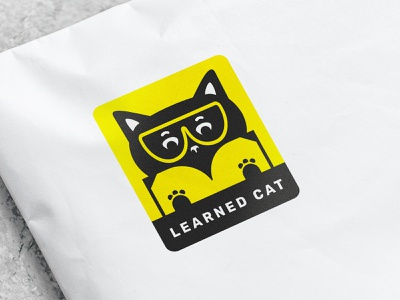 learned cat logo label paws glasses scientist black cat chemistry cat litter breaking bad cat graphic design branding logo