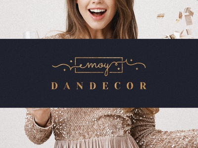 event agency logo sparkling gold minimalistic text elegant logo handwritten party party host holiday event agency graphic design logo branding