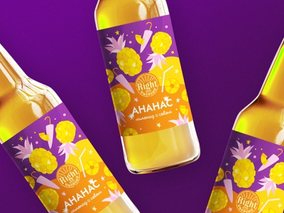 pineapple lemonade creative hand drawing purple yellow juice illustration pineapple lemonade vector design label graphic design