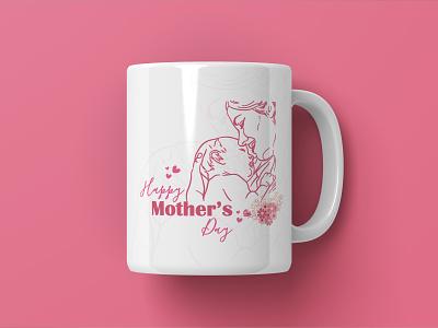 Mothers Day Mug Design logodesign icon flat logotype illustration logo design brand identity graphicdesign illustrations typography cup design mug design